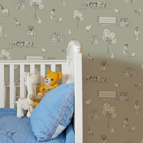Katie Bourne Cluck a doodle farm - Light Green Kids Wallpaper from Just Kids Wallpaper
