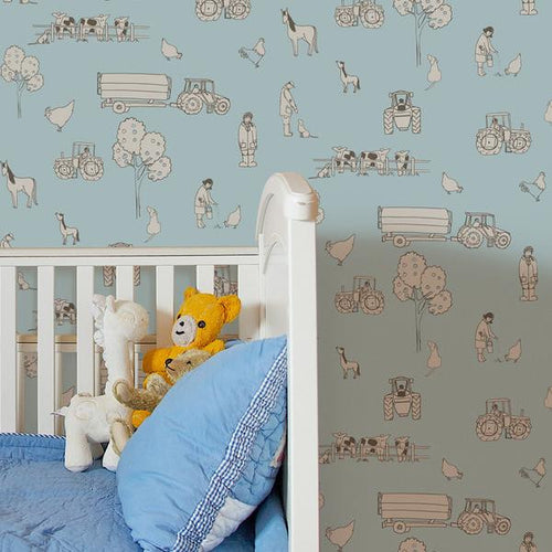 Katie Bourne Cluck a doodle farm - Light Blue Kids Wallpaper