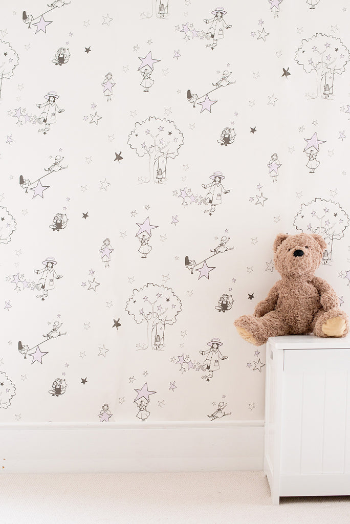 Katie Bourne Interiors Catch A Star Wallpaper in Cream & Purple.
