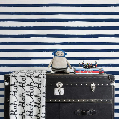Sissy & Marley Stripe in Navy Wallpaper