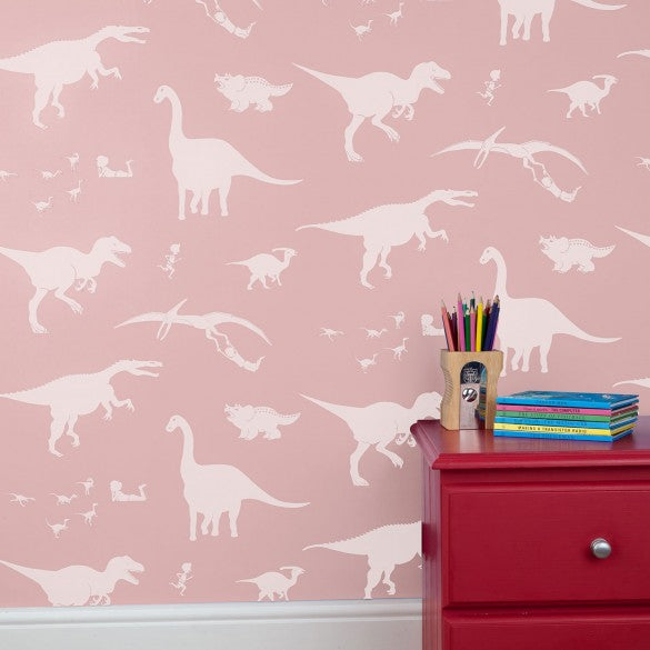 'D'ya-think-e-saurus' Wallpaper in Pink | dinosaur wallpaper