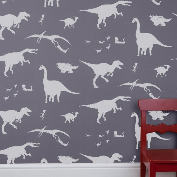 'D'ya-think-e-saurus' Wallpaper in Warm Grey