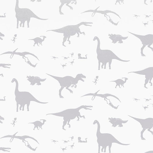PaperBoy 'D'ya-think-e-saurus' White children's wallpaper