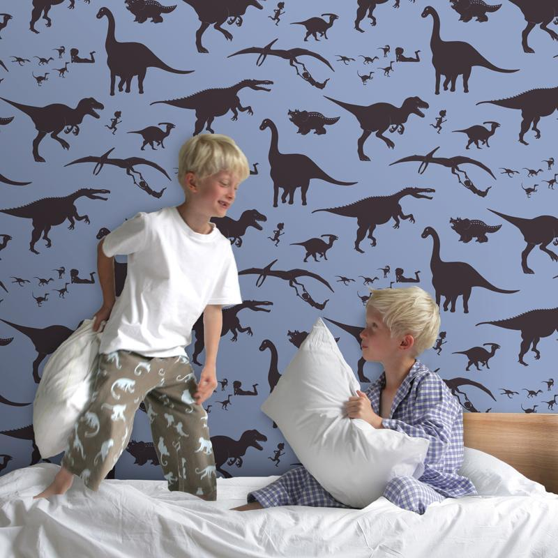 PaperBoy 'D'ya-think-e-saurus' wallpaper in blue and Chocolate brown
