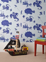 PaperBoy Wallpaper. 'ere-be-dragons' Blue wallpaper