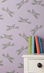 PaperBoy Spitfires' Lilac childrens wallpaper