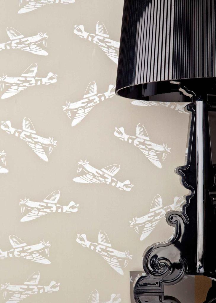 PaperBoy Spitfires' Grey-Green childrens wallpaper