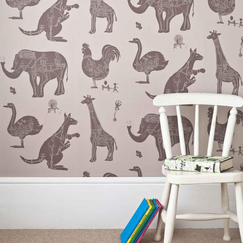 PaperBoy 'How it works' Stone & Brown childrens Wallpaper