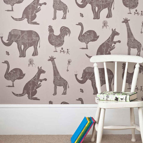 PaperBoy Wallpaper | 'Spitfires' | Grey-Brown