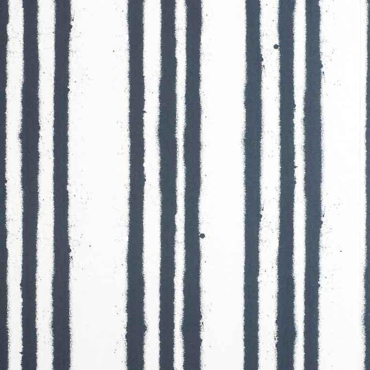 Paper Boy Stripe Childrens Wallpaper in dark blue