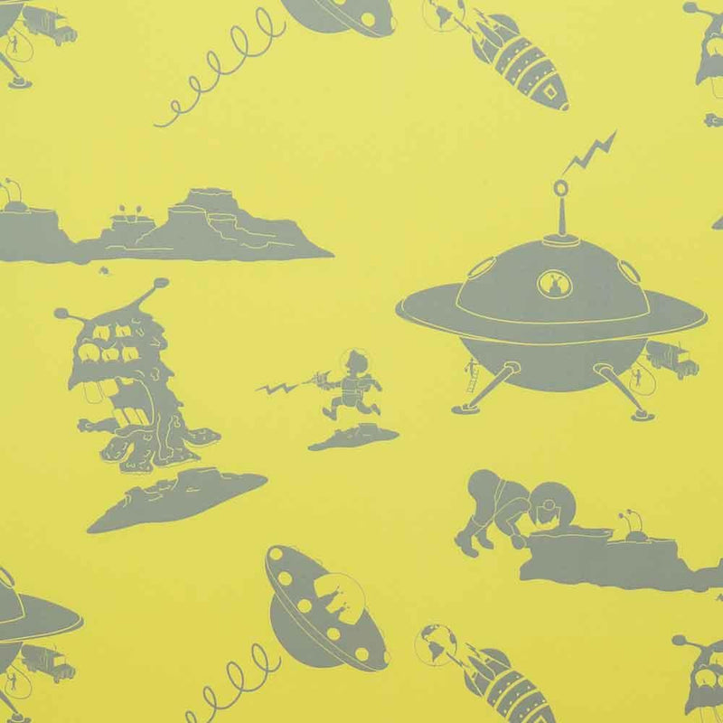 PaperBoy 'Final Frontier'  Yellow & Grey Childrens Wallpaper