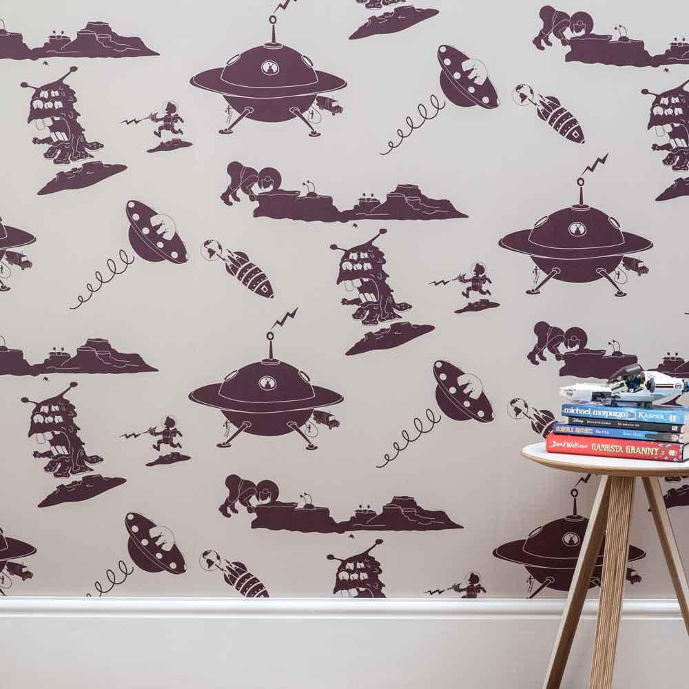 PaperBoy 'Final Frontier' Stone & Purple Childrens Wallpaper ...