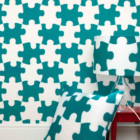 PaperBoy Wallpaper | 'It's A Puzzle' | Green & White
