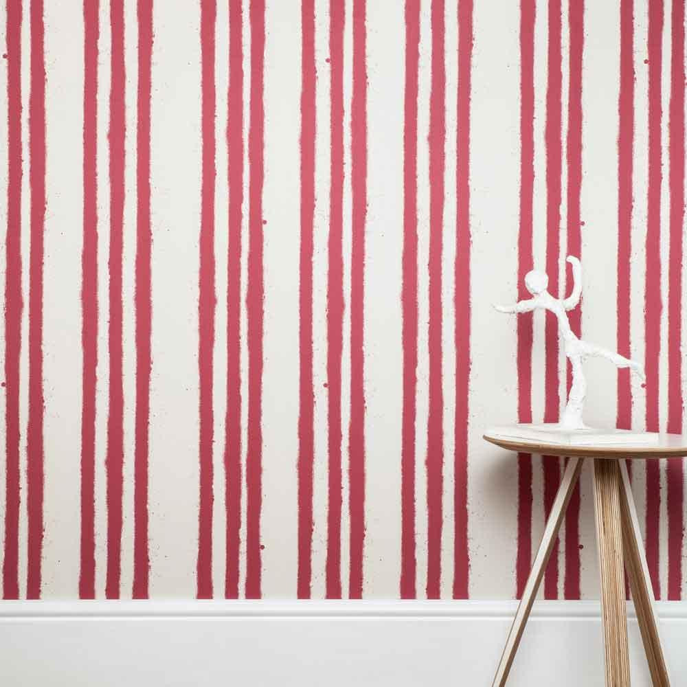 PaperBoy Wallpaper | Stripes | Red & White