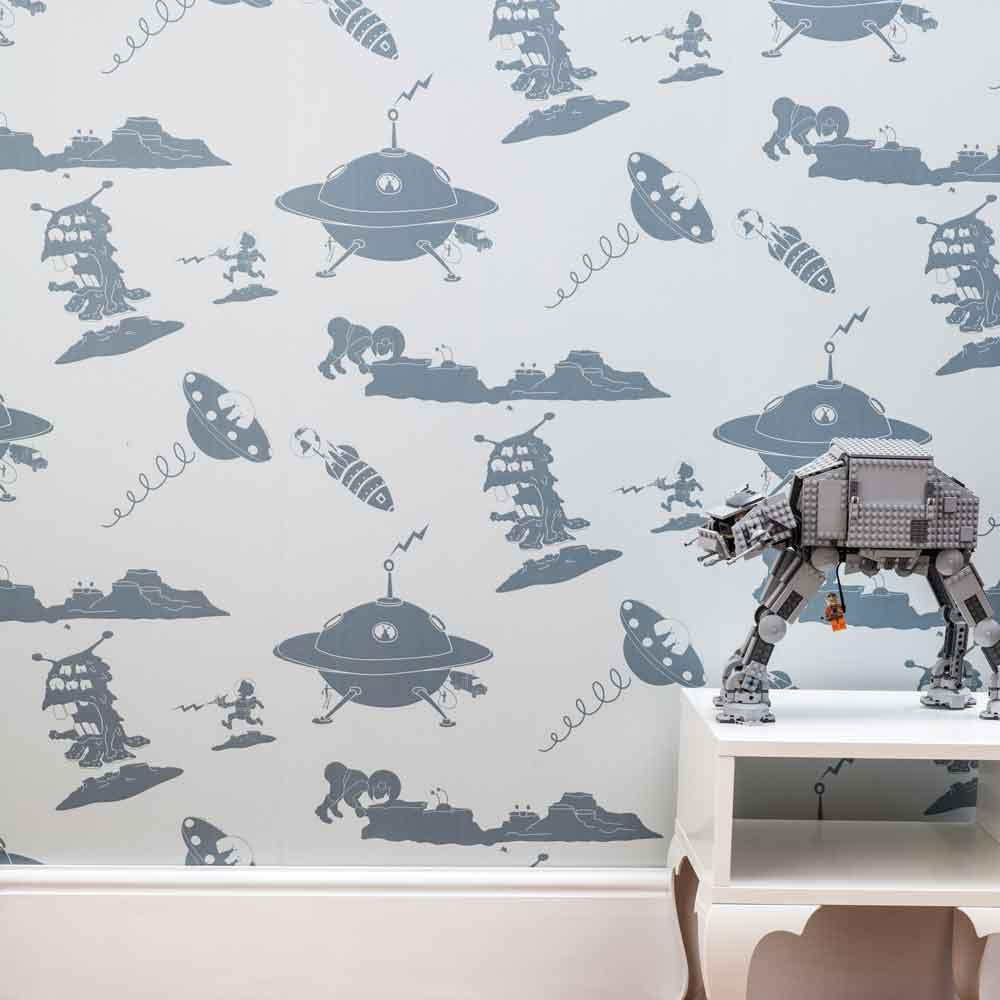 PaperBoy 'Final Frontier' Blue Kids wallpaper
