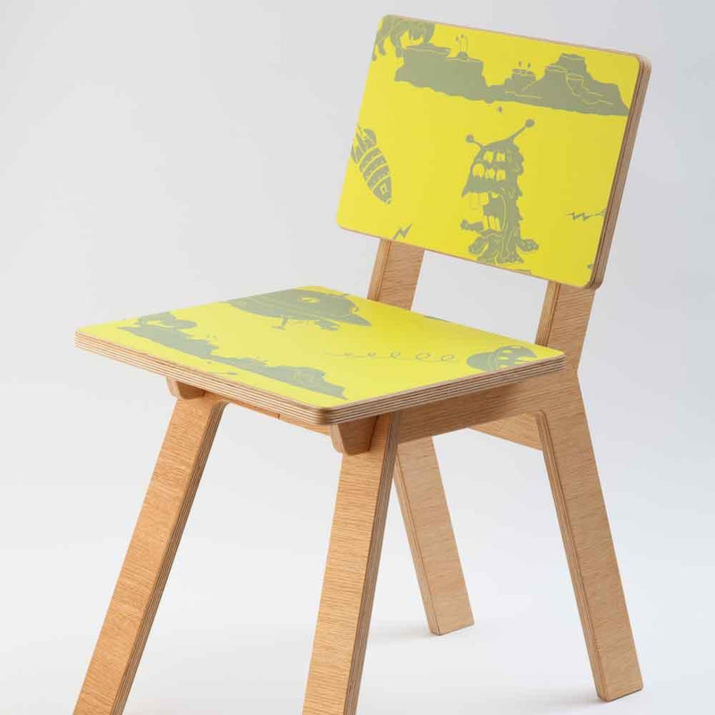 Chair lined in Wallpaper by PaperBoy 'Final Frontier'  Yellow & Grey Childrens Wallpaper
