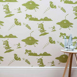 PaperBoy 'Final Frontier' Grey & Green Childrens Wallpaper