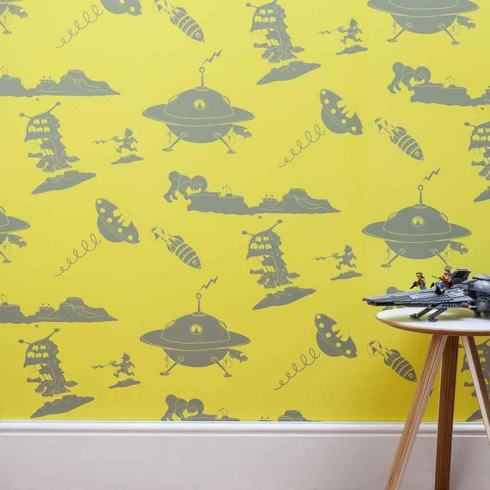PaperBoy 'Final Frontier'  Yellow & Grey Kids Wallpaper