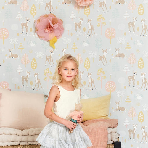 Golden Woods Wallpaper for Kids rooms in Soft Grey