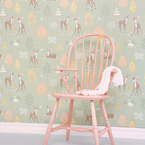 Children's Wallpaper Golden Woods in dusty Green | Majvillan Wallpaper