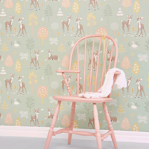 Majvillan Wallpaper | Rainbow Treasures Bubblegum Turquoise