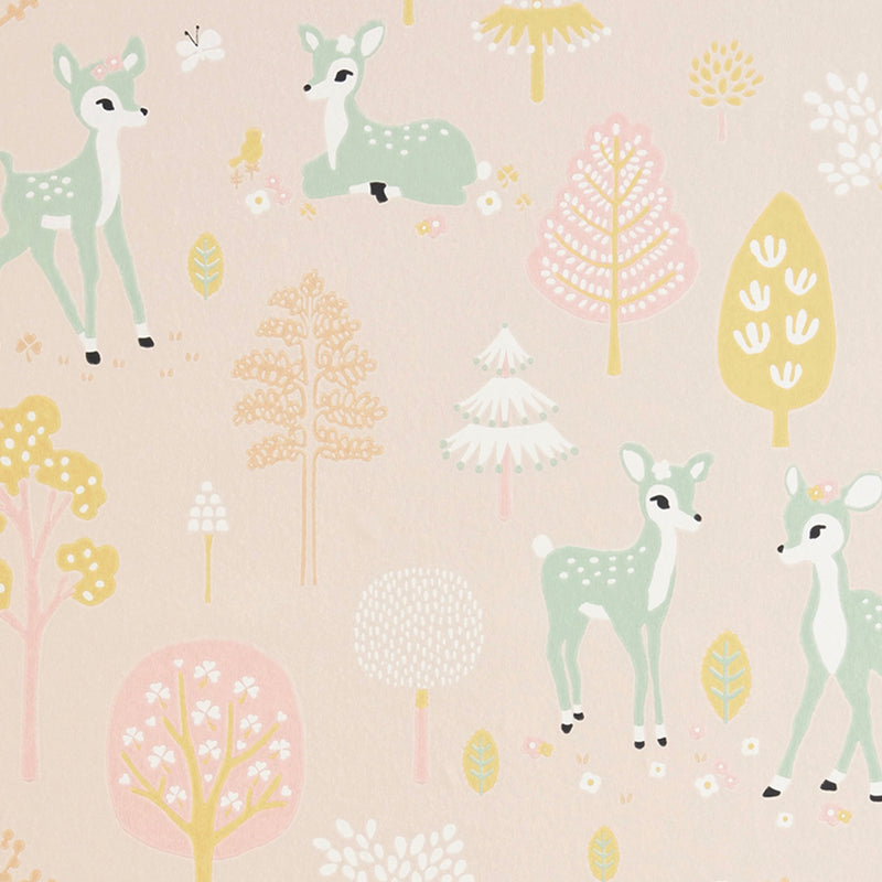 Golden Woods Wallpaper in Pink for kids rooms