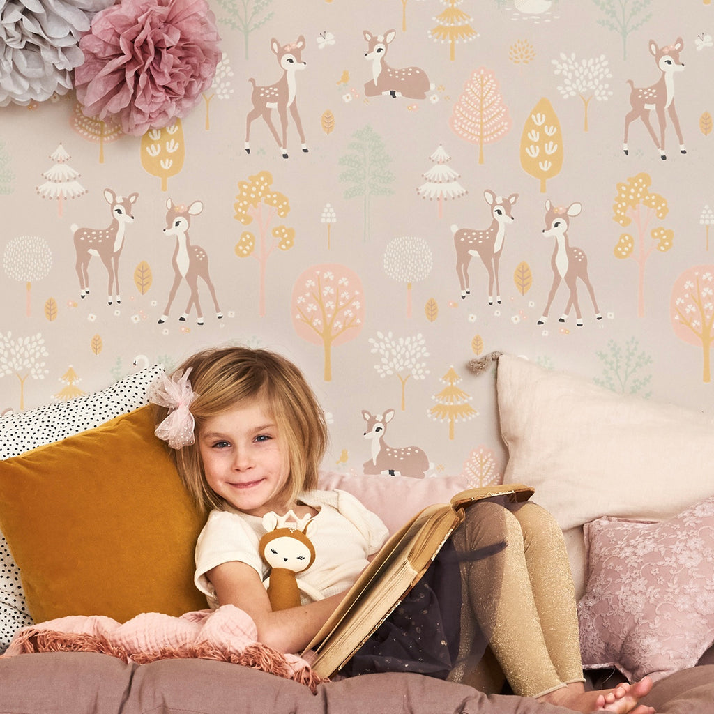 Girls Wallpaper for Girls rooms | Golden Woods Wallpaper in Lilac