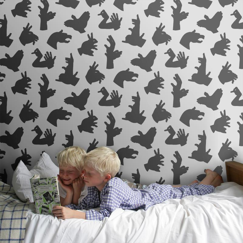 ... PaperBoy - 'Hand Made' Gray children's wallpaper ...