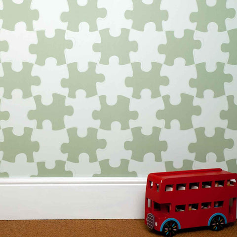 PaperBoy Wallpaper | It's A Puzzle | Blue & White