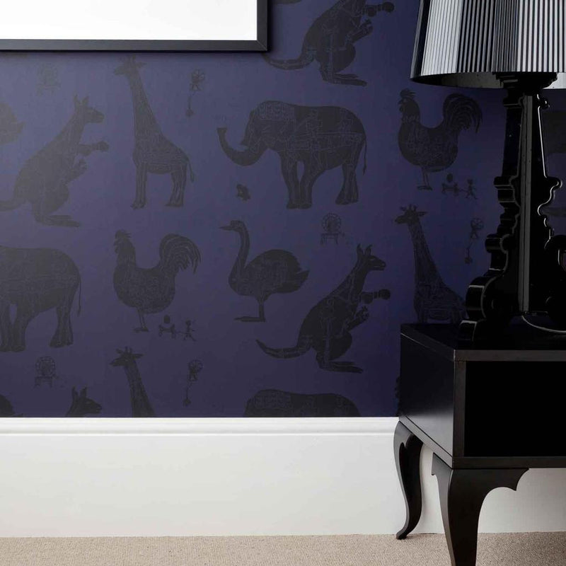 PaperBoy 'How it works' Purple & Black Childrens Wallpaper