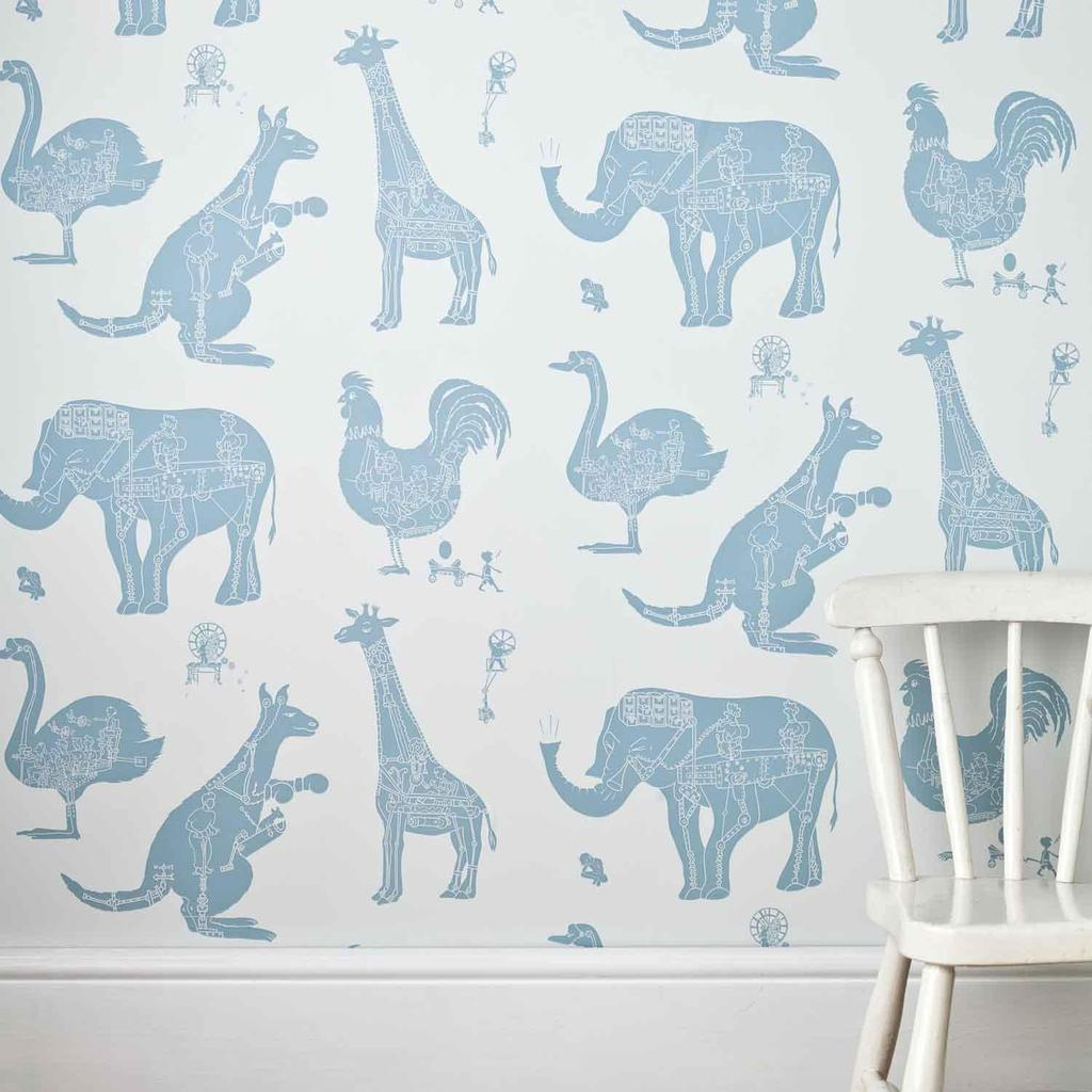 PaperBoy 'How it works' Blue & White kids Wallpaper