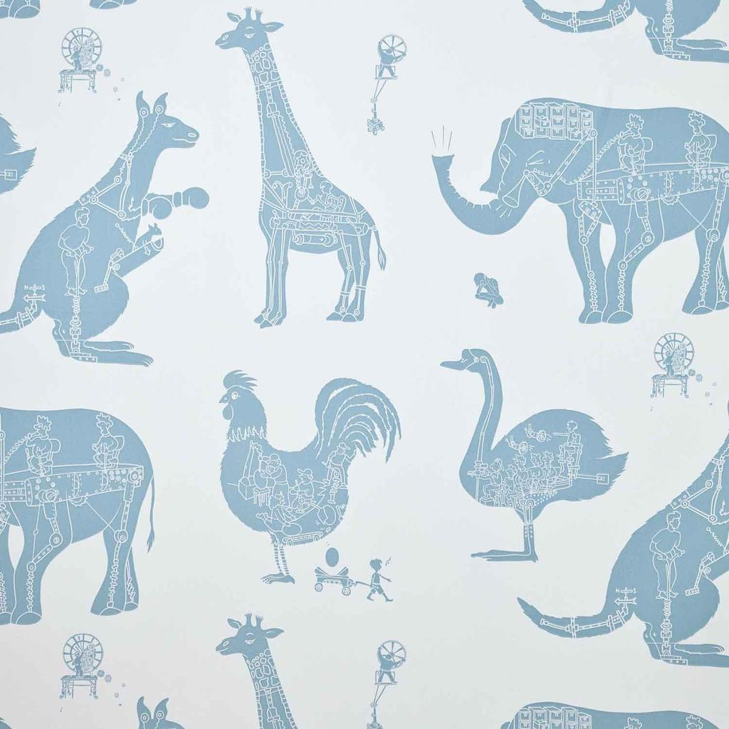 Paper Boy 'How it works' Blue & White childrens Wallpaper