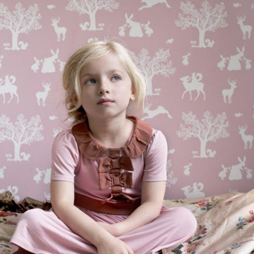 Hibou Home Enchanted Wood Wallpaper in White on Dusky Peony Pink at Just Kids Wallpaper