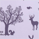 Hibou Home Enchanted Wood Wallpaper Aubergine on Soft Lilac at Just Kids Wallpaper