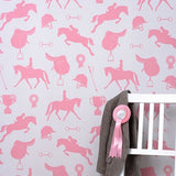 Hibou Home Wallpaper | Gymkhana Girls in Coral Pink on Sand