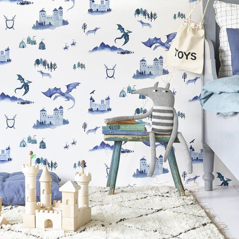 Hibou Home Wallpaper | Teepees Indigo on White