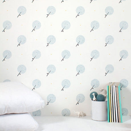 Bartsch Parisian Dandelions Blue Smoke Childrens Wallpaper