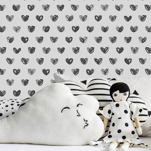 Sissy & Marley Love in Charcoal Wallpaper