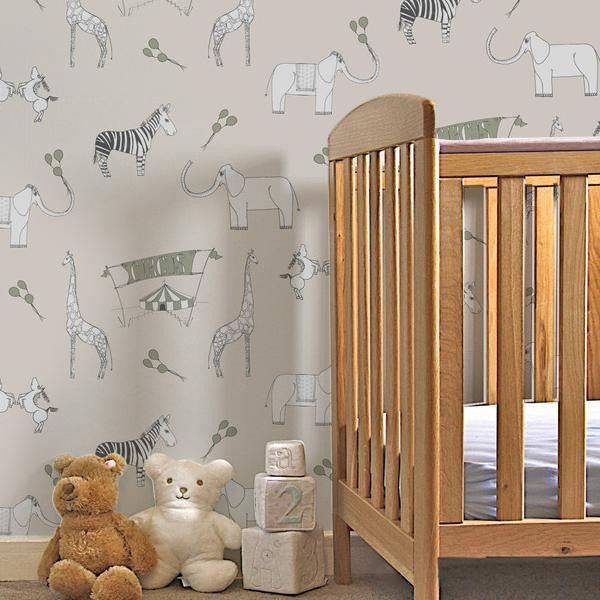 Katie Bourne Merry Go Circus-Cream & Green Kids Wallpaper from Just Kids Wallpaper