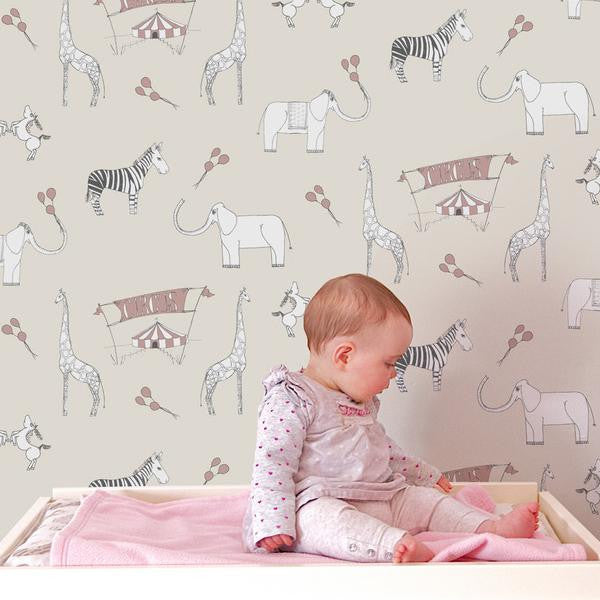 Katie Bourne Merry Go Circus-Cream & Pink Kids Wallpaper