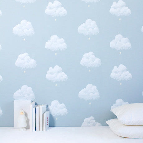 Cotton Clouds Wallpaper in Blue Smoke from Just Kids Wallpaper