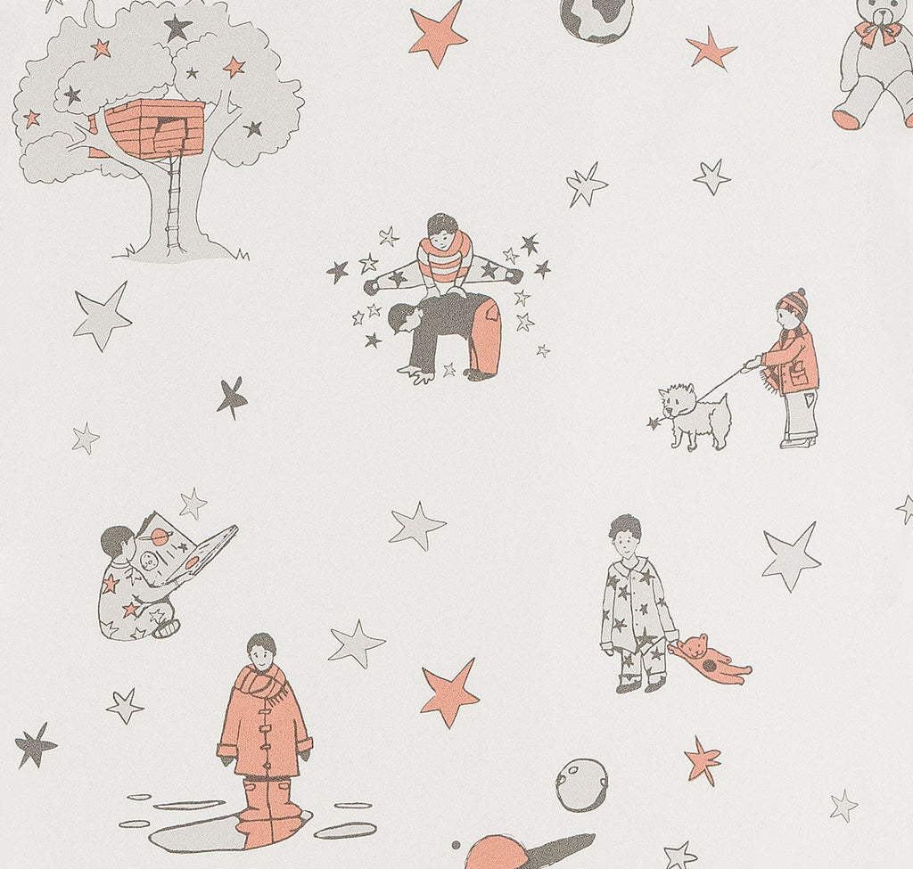 Katie Bourne Wallpaper | Once Upon A Star in Orange. Boys Wallpaper 10m x 52cm rolls.