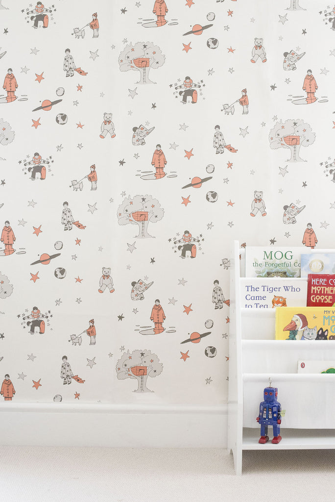 Once Upon A Star in Orange Wallpaper by Katie Bourne. Boys Wallpaper.