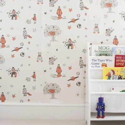 Katie Bourne Wallpaper - Nursery Wallpaper. Once Upon A Star in Orange.