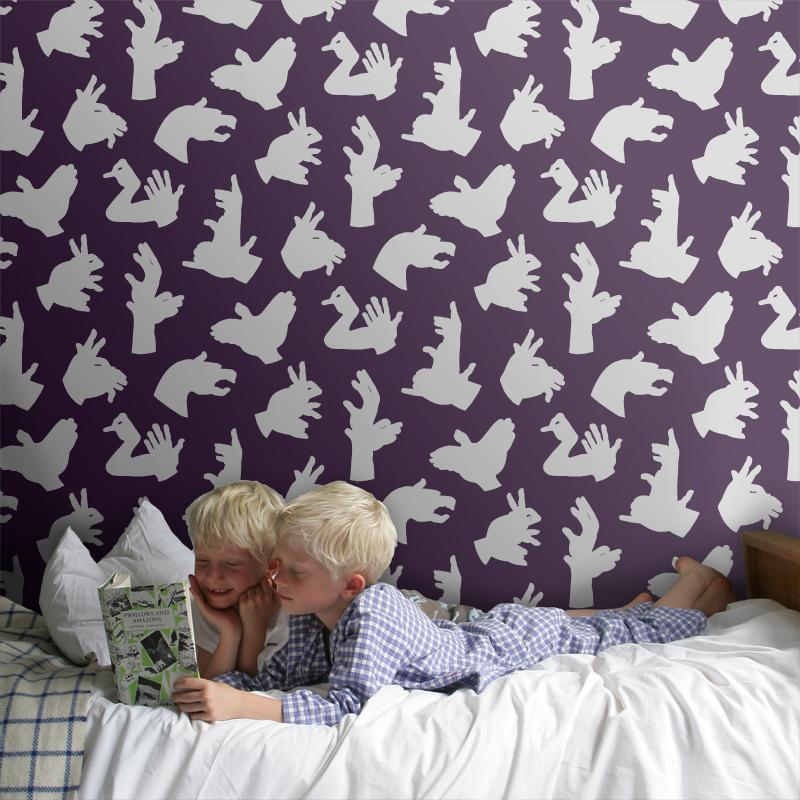 Paperboy 'Hand Made' Purple childrens Wallpaper