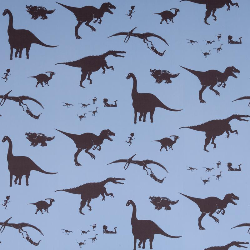 PaperBoy 'D'ya-think-e-saurus' wallpaperin blue and Chocolate brown