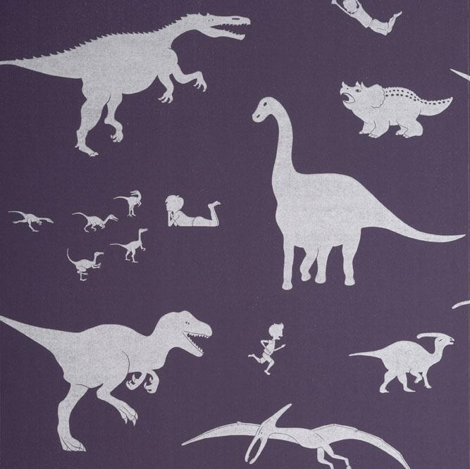 PaperBoy 'D'ya-think-e-saurus' Purple children's wallpaper