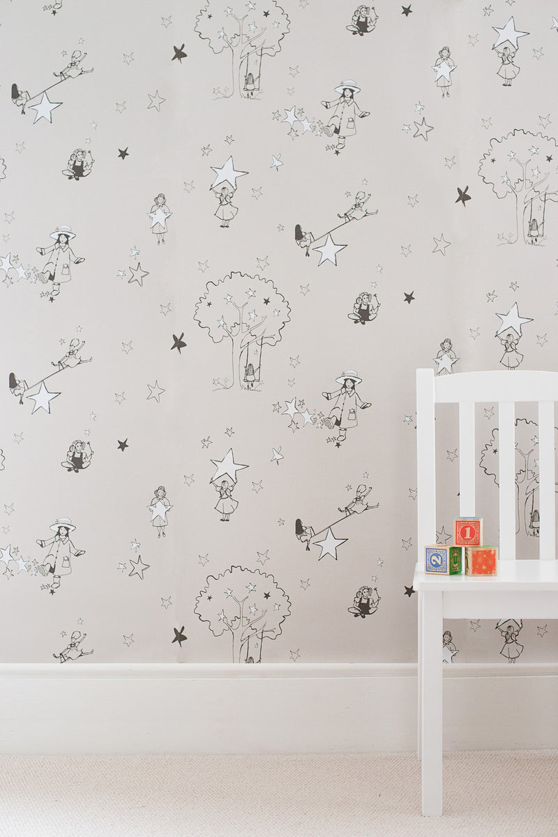 Catch a Star Wallpaper in Slate & White. Kids Wallpaper 10m x 52cm roll.