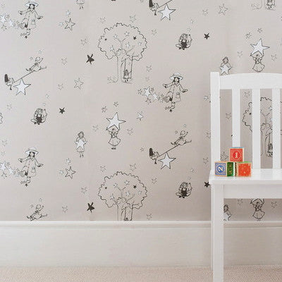 Katie Bourne Interiors Girls Wallpaper - Catch A Star perfect for a Nursery or a toddlers room.