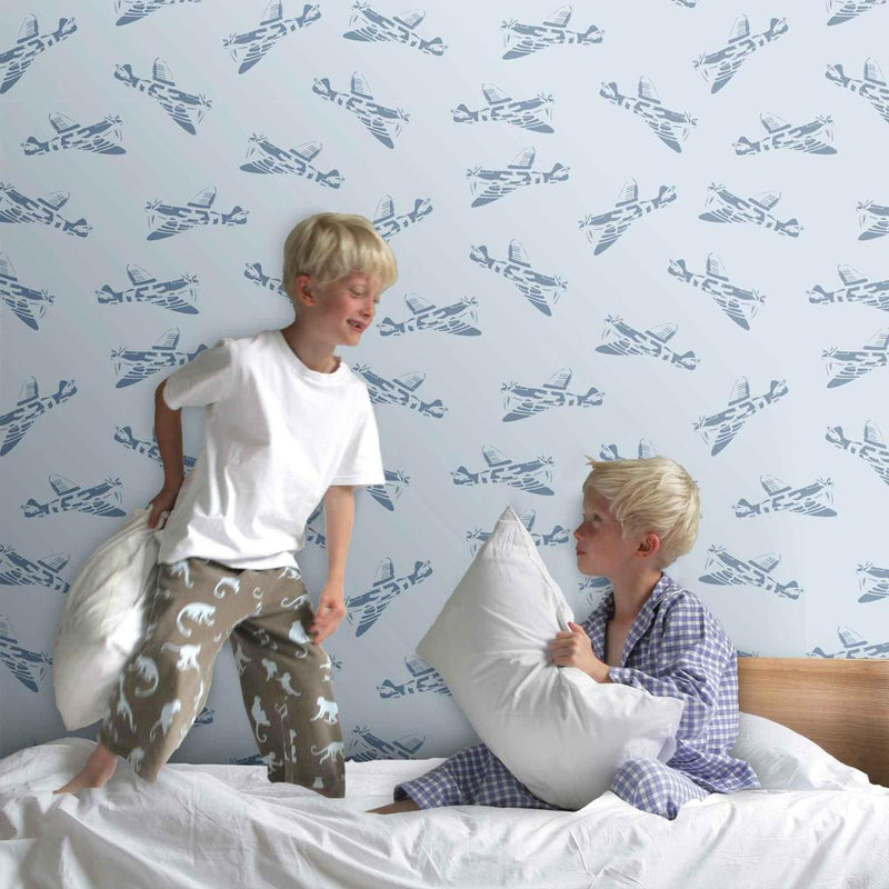 PaperBoy Spitfires' Blue Childrens wallpaper